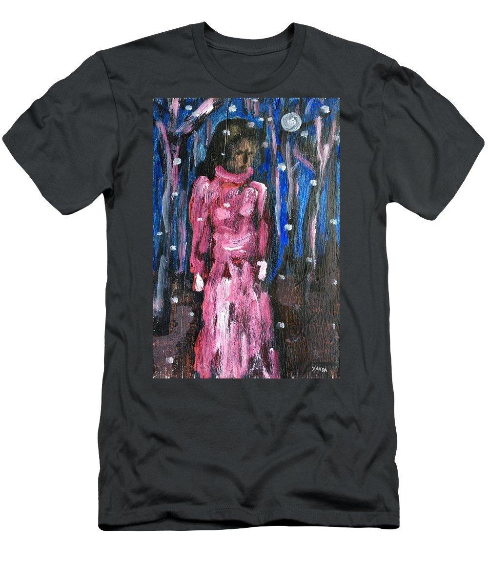 Katt Yanda Original Art Portrait Oil Painting Wood Woman Lady Walking Snow Snowflakes Woods Forest Men's T-Shirt (Athletic Fit) featuring the painting Snow Walk by Katt Yanda