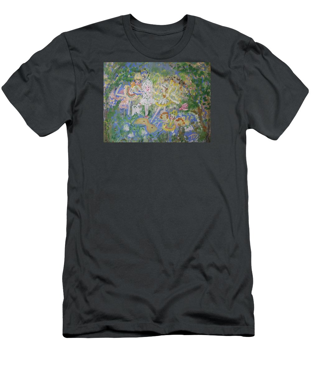 Snowdrop Men's T-Shirt (Athletic Fit) featuring the painting Snowdrop The Fairy And Friends by Judith Desrosiers