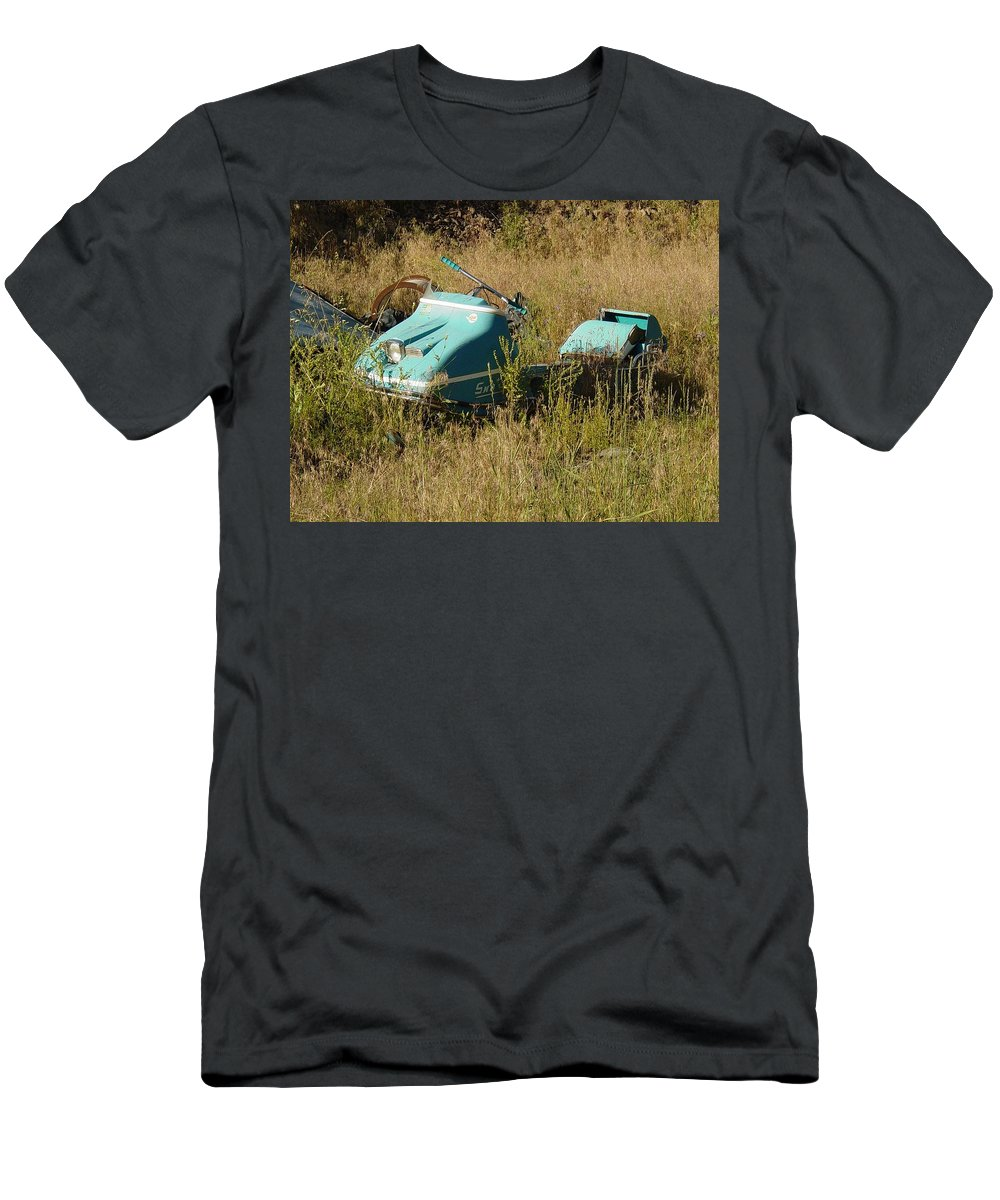 Old Snow Mobile Men's T-Shirt (Athletic Fit) featuring the photograph Snowmobile by Sara Stevenson