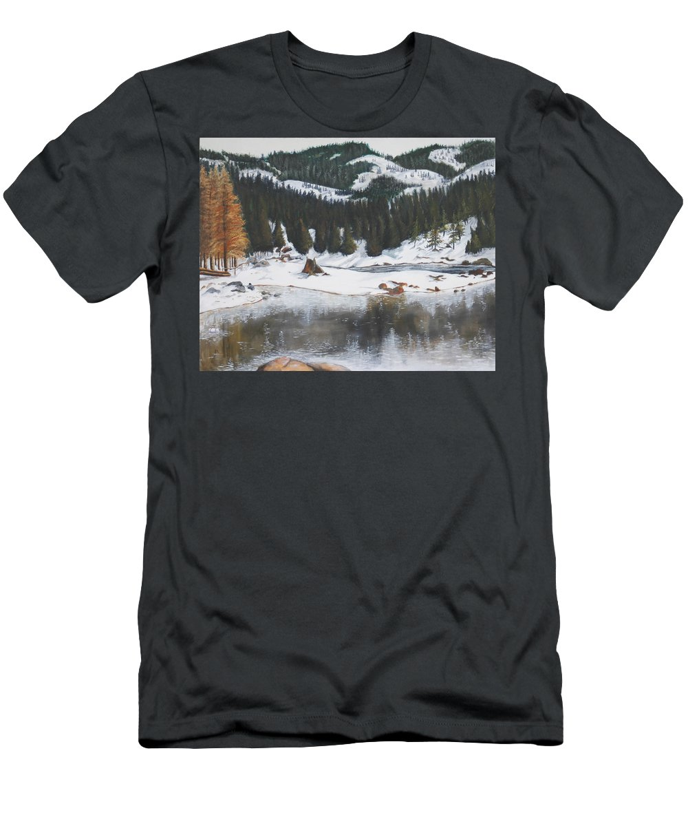 Snow Men's T-Shirt (Athletic Fit) featuring the painting Snowy Lake by Travis Day