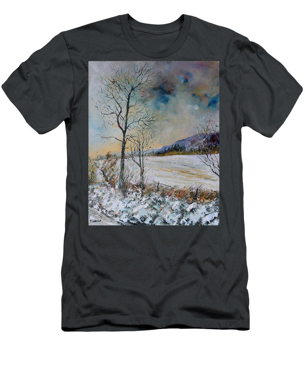 Landscape T-Shirt featuring the painting Snowy landscape by Pol Ledent