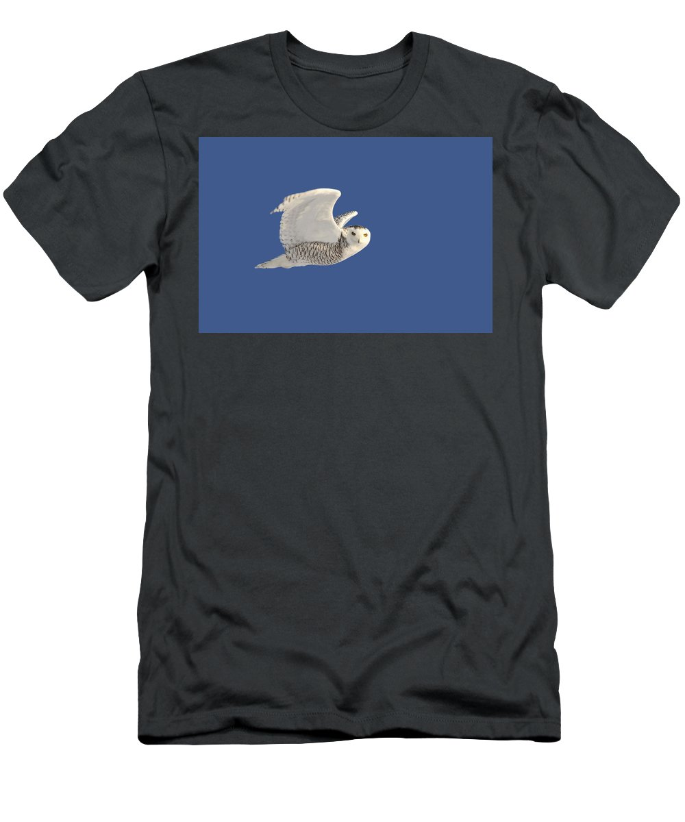 Snowy Owl Men's T-Shirt (Athletic Fit) featuring the digital art Snowy Owl In Flight by Mark Duffy