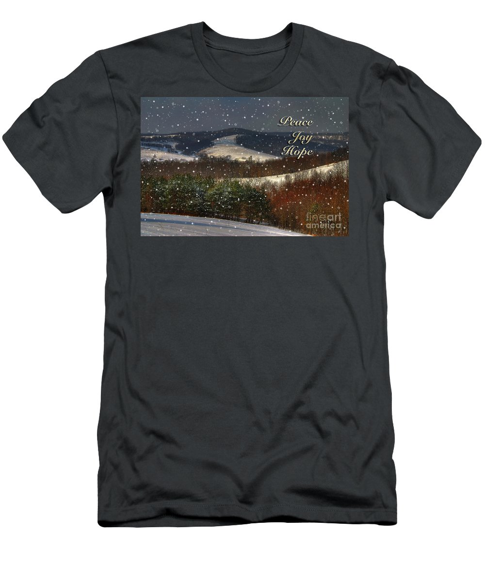 Christmas Men's T-Shirt (Athletic Fit) featuring the photograph Soft Sifting Christmas Card by Lois Bryan