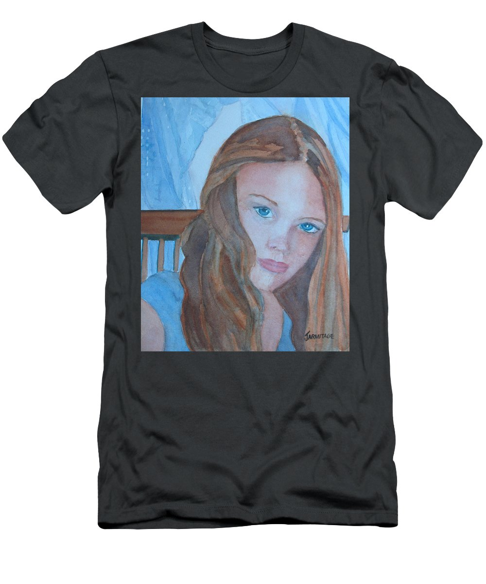 Girls Men's T-Shirt (Athletic Fit) featuring the painting Soft Steel by Jenny Armitage