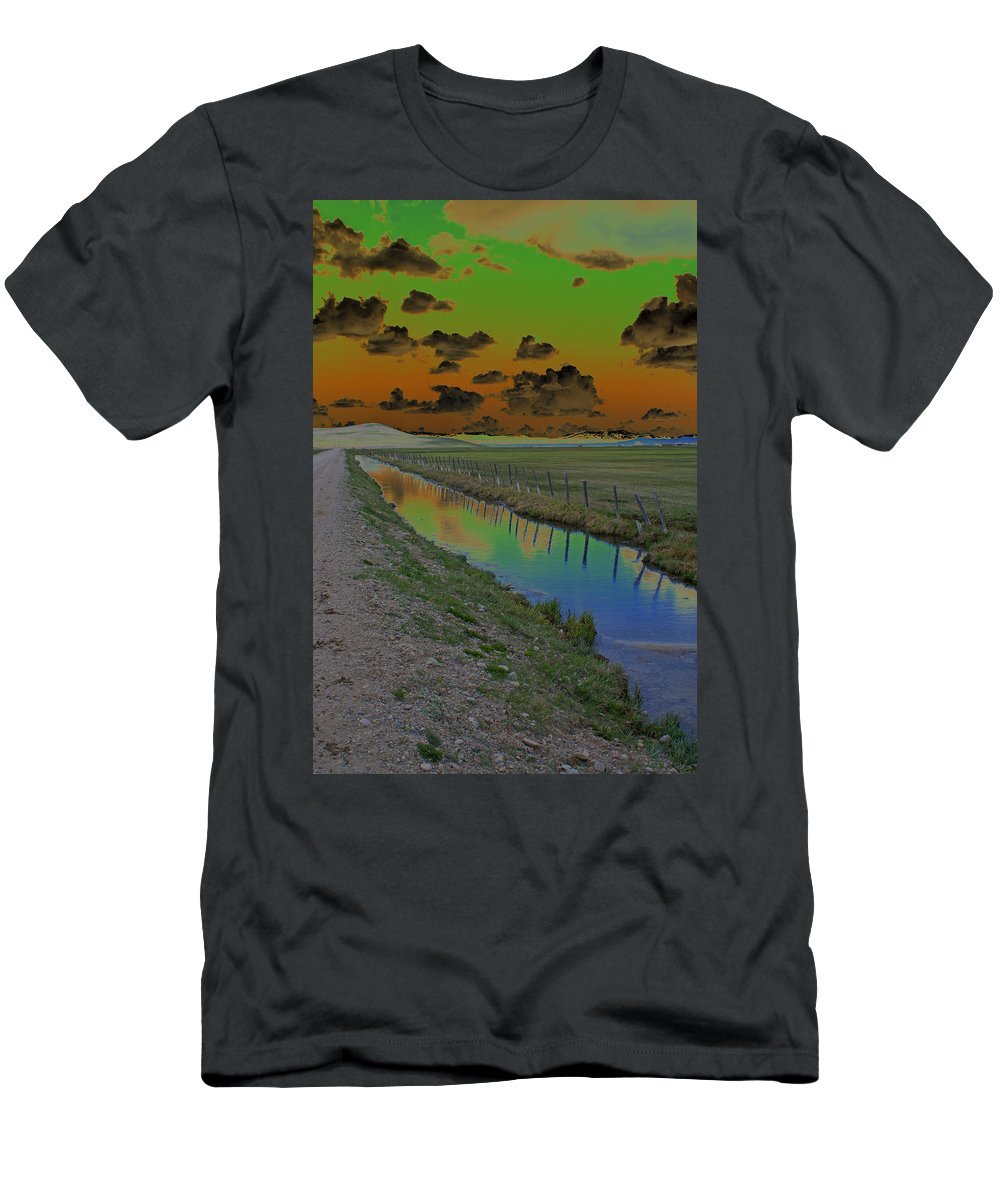 Mountains. Solarized Men's T-Shirt (Athletic Fit) featuring the photograph Solarized Sky by Heather Coen