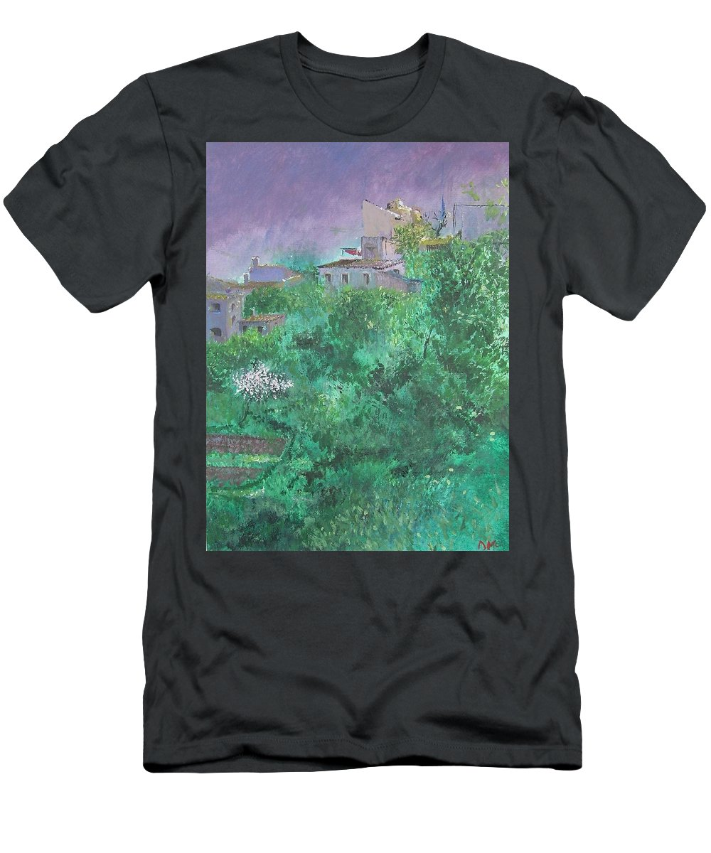 Impressionist T-Shirt featuring the painting Solitary Almond Tree In Blossom Mallorcan Valley by Lizzy Forrester