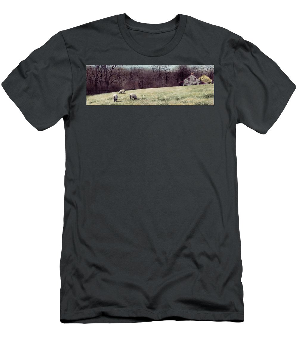 Sheep Men's T-Shirt (Athletic Fit) featuring the painting Solitude by Denny Bond