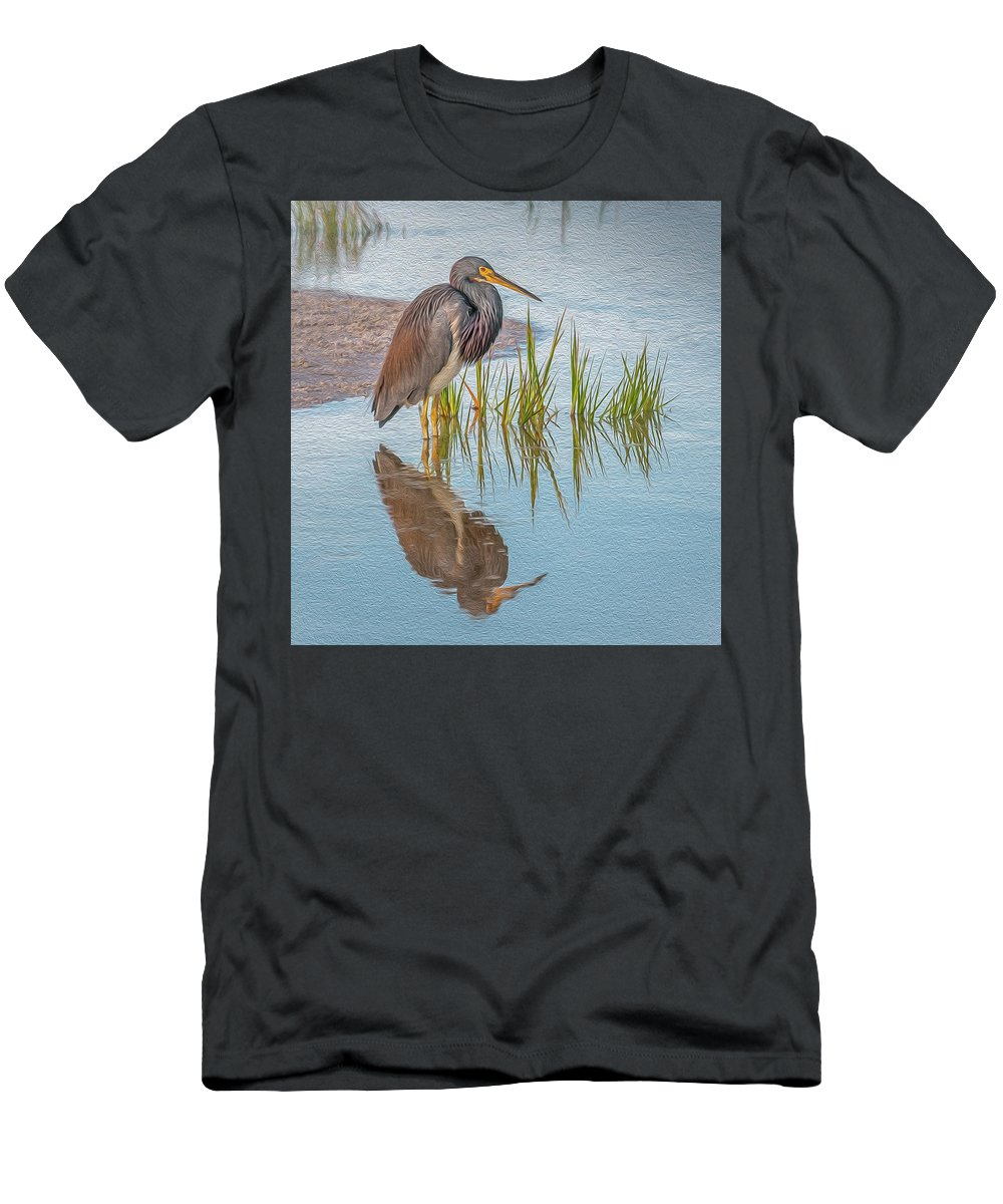 Tri-colored Heron Men's T-Shirt (Athletic Fit) featuring the digital art Solitude by Vivian Starnes