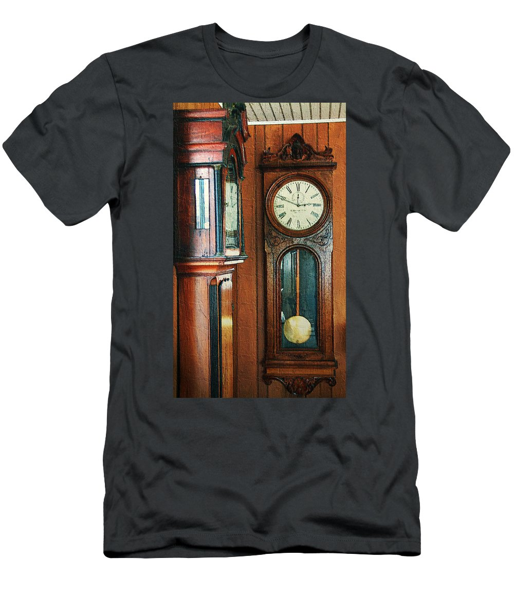 Antiques Men's T-Shirt (Athletic Fit) featuring the digital art Somebodys Grandfathers Clocks by RC DeWinter