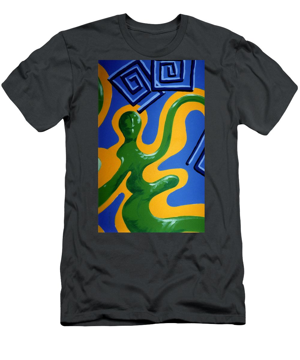 Abstract Men's T-Shirt (Athletic Fit) featuring the painting Soul Figures 1 by Catt Kyriacou