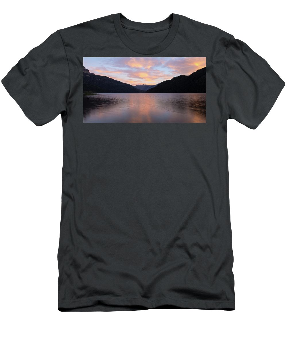 South Patagonia Landscape Travel Argentina Nature Men's T-Shirt (Athletic Fit) featuring the photograph South Argentina Villarino Lake by Rodrigo Kaspary