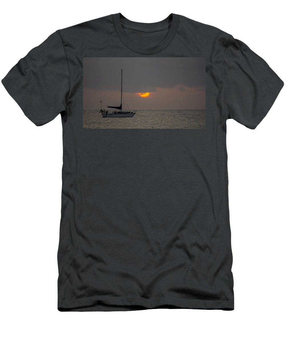 #southbeach #miamibeach #sunrise #miamiphotographer #stevelipsonphotography #streetart #ocean #clouds #goldcoast #zazzle #photo #togs #southflorida #lifestyle #advertisingagency #creative #seascape #landscape #outdoors #sailboat Men's T-Shirt (Athletic Fit) featuring the photograph Miami Beach 4243 by Steve Lipson