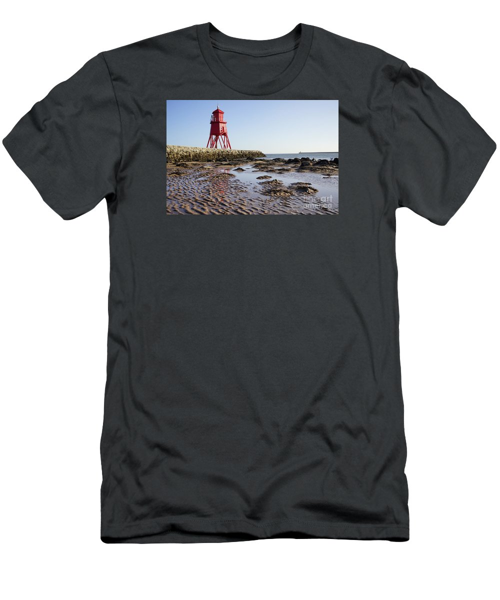 South Shields Groyne Men's T-Shirt (Athletic Fit) featuring the photograph South Shields Groyne by Smart Aviation