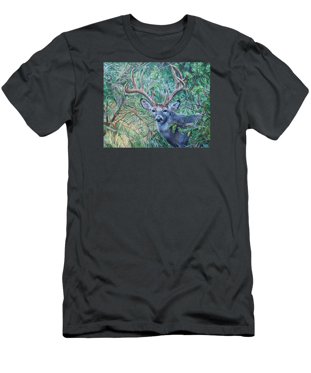 Deer Men's T-Shirt (Athletic Fit) featuring the painting South Texas Deer In Thick Brush by Diann Baggett