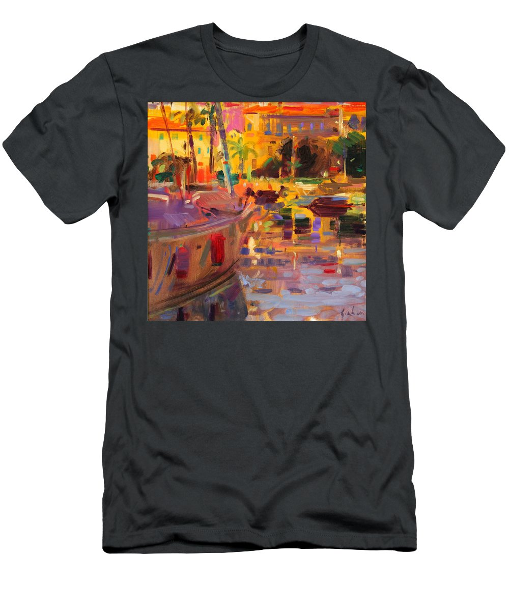 Signed Men's T-Shirt (Athletic Fit) featuring the painting Southern French Port by Peter Graham