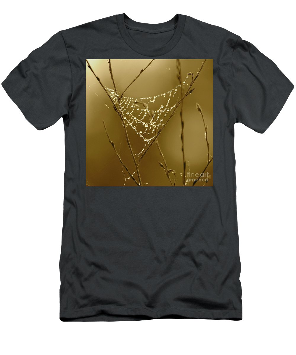 Dewdrops On Spider Web Men's T-Shirt (Athletic Fit) featuring the photograph Southern Jewels by Carol Groenen