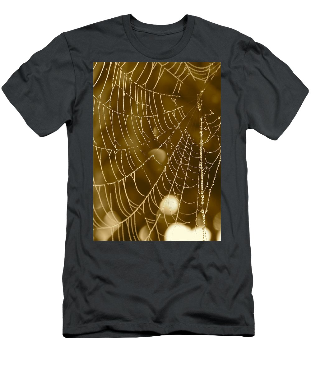 Dewdrops On Spider Web Men's T-Shirt (Athletic Fit) featuring the photograph Southern Pearls by Carol Groenen