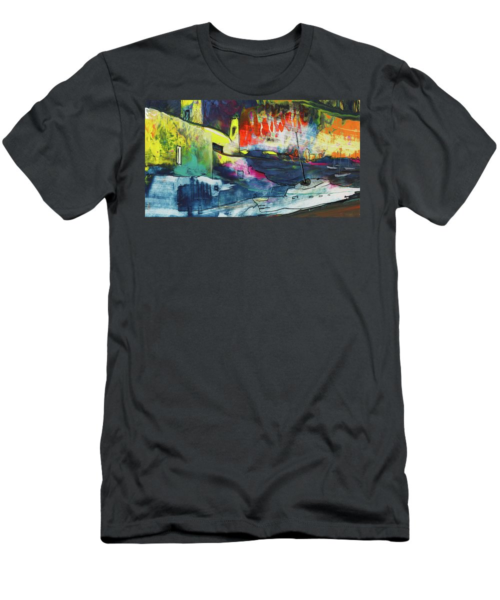 Landscapes Men's T-Shirt (Athletic Fit) featuring the painting Spanish Harbour 01 by Miki De Goodaboom