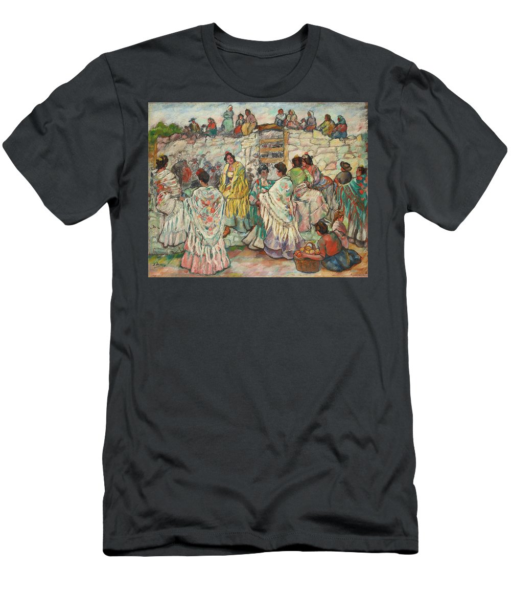 Francisco Iturrino 1864 - 1924 Spanish Manolas Outside The Bullring Men's T-Shirt (Athletic Fit) featuring the painting Spanish Manolas Outside The Bullring by MotionAge Designs