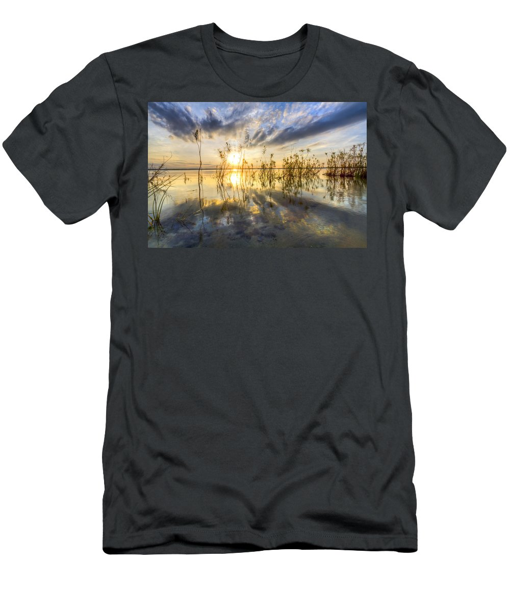 Clouds Men's T-Shirt (Athletic Fit) featuring the photograph Sparkley Waters by Debra and Dave Vanderlaan