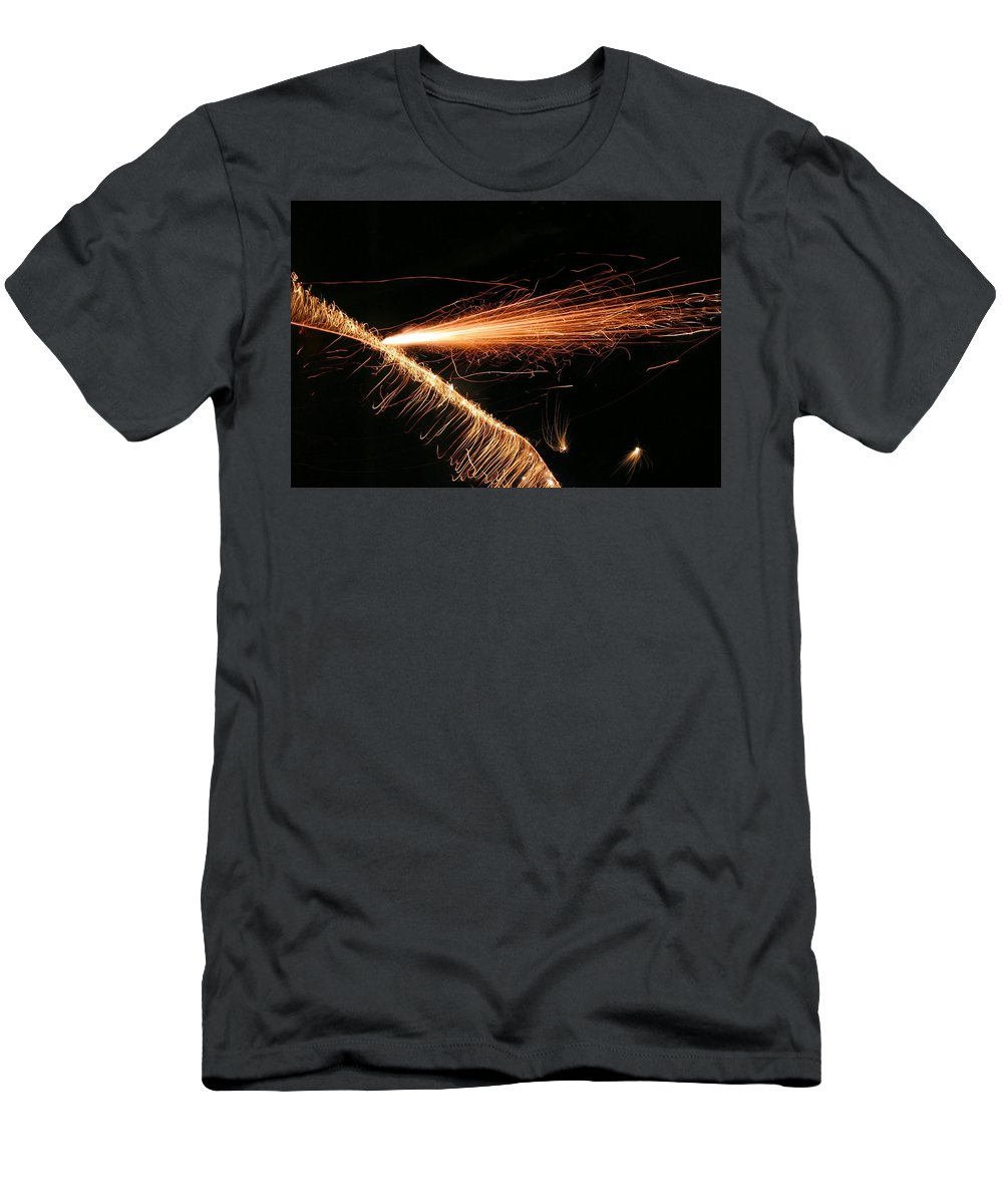 Sparks Men's T-Shirt (Athletic Fit) featuring the photograph Sparks Will Fly by Kristin Elmquist