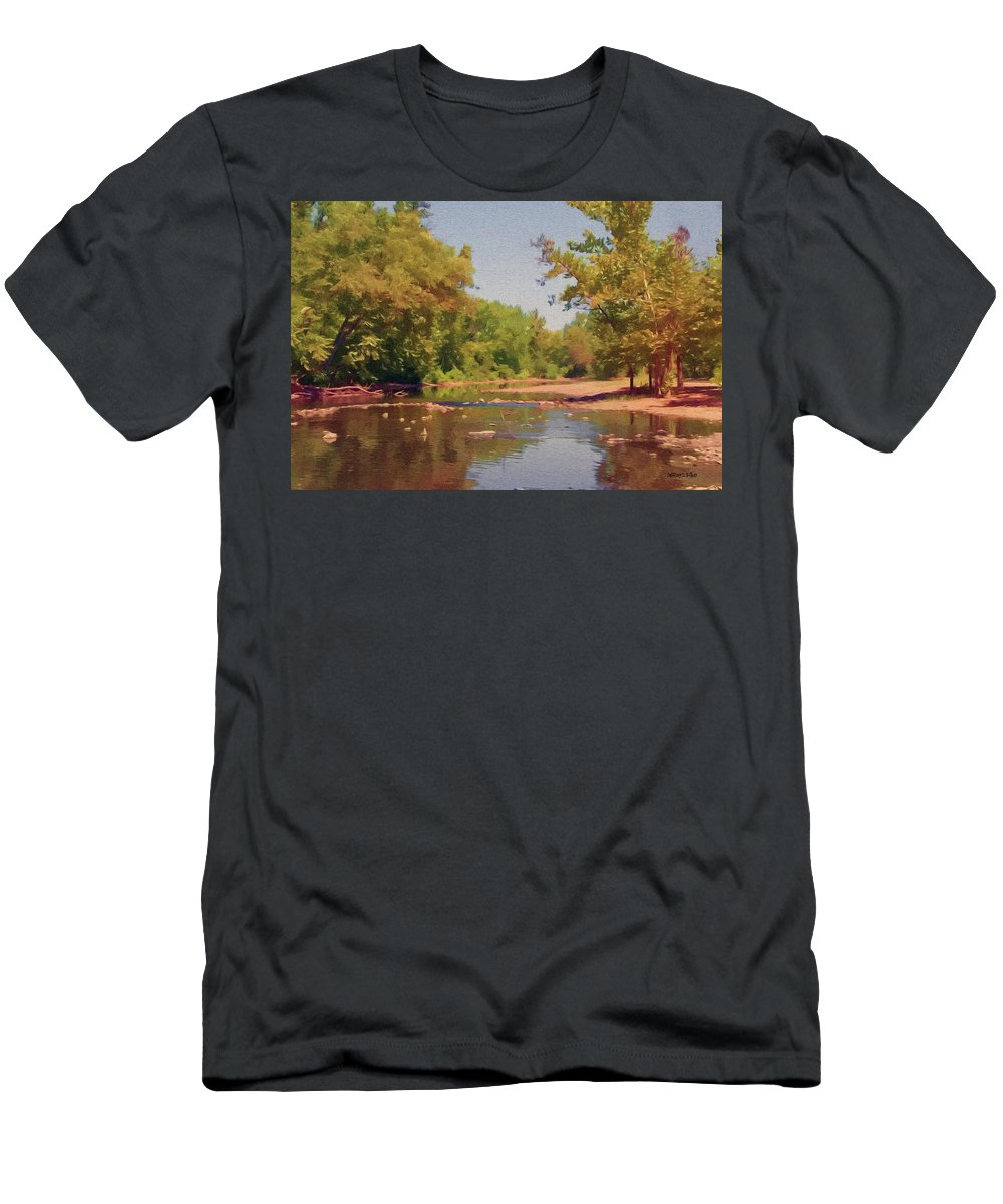 Creek Men's T-Shirt (Athletic Fit) featuring the painting Spavinaw Creek by Jeffrey Kolker