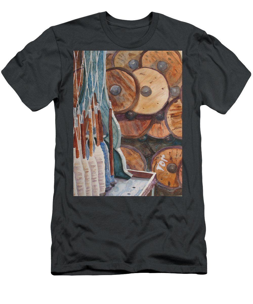 Factory Men's T-Shirt (Athletic Fit) featuring the painting Spindles And Spools by Jenny Armitage