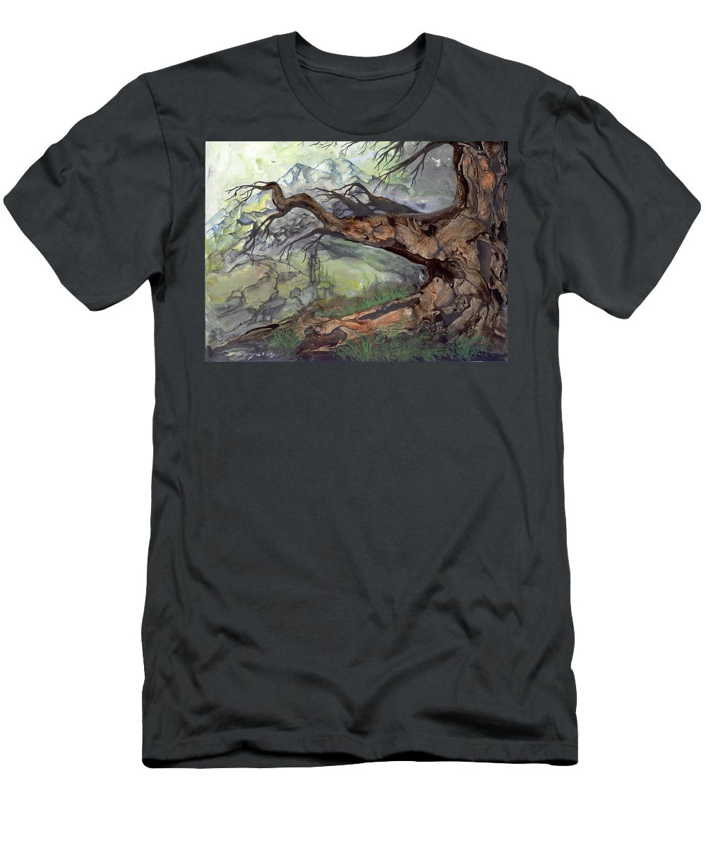 Bark Men's T-Shirt (Athletic Fit) featuring the painting Spirit Tree by Sherry Shipley