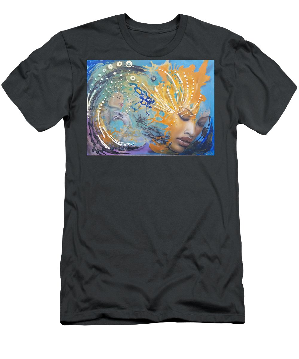 Abstract Men's T-Shirt (Athletic Fit) featuring the painting Spiritual Enlightenment by D'Art Studio