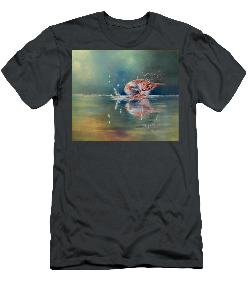 Nature Men's T-Shirt (Athletic Fit) featuring the painting Splash by Ceci Watson