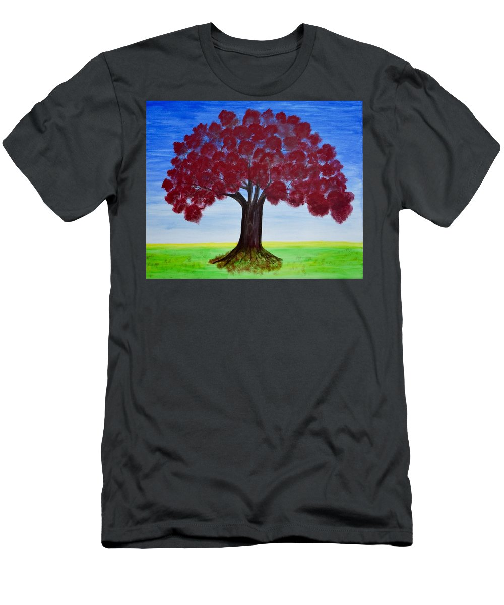 Red Oak Men's T-Shirt (Athletic Fit) featuring the painting Splash Of Colors 2 by Surbhi Grover