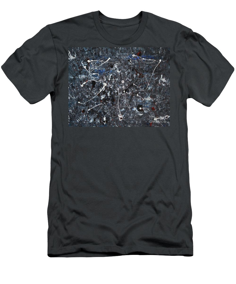Splatter Men's T-Shirt (Athletic Fit) featuring the painting Splattered - Grey by Jacqueline Athmann