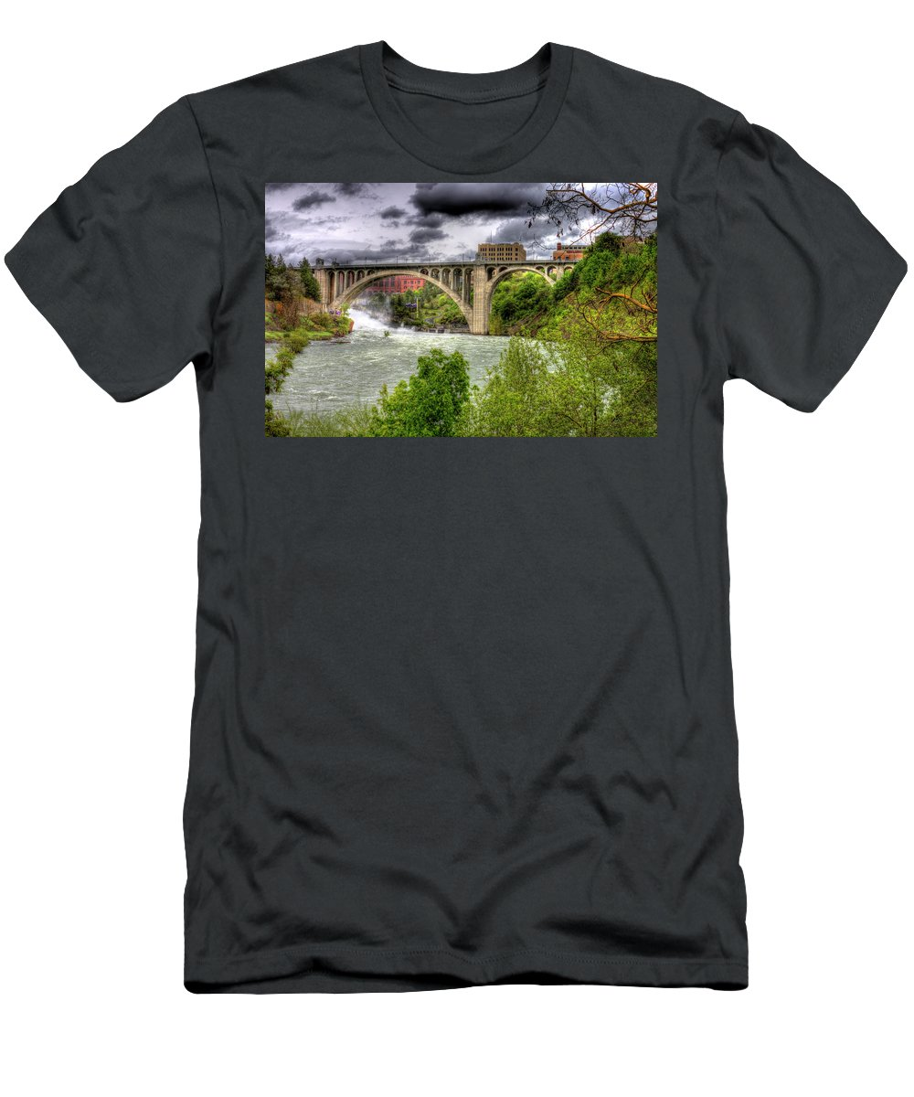 Men's T-Shirt (Athletic Fit) featuring the photograph Spokane Falls And Monroe Bridge by Lee Santa
