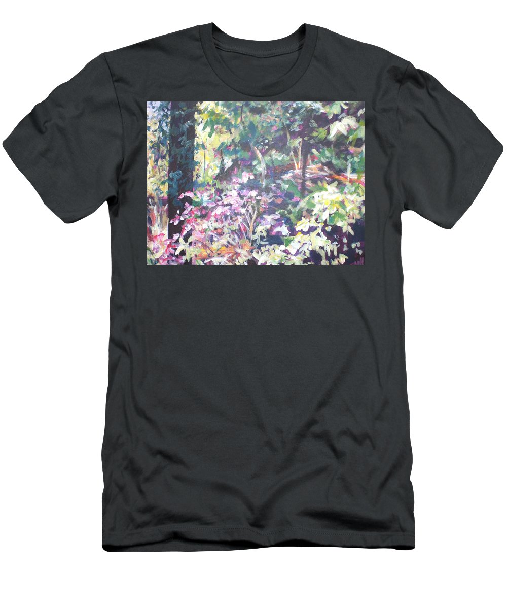 Landscape Men's T-Shirt (Athletic Fit) featuring the painting Spring At Maymont by Sheila Holland