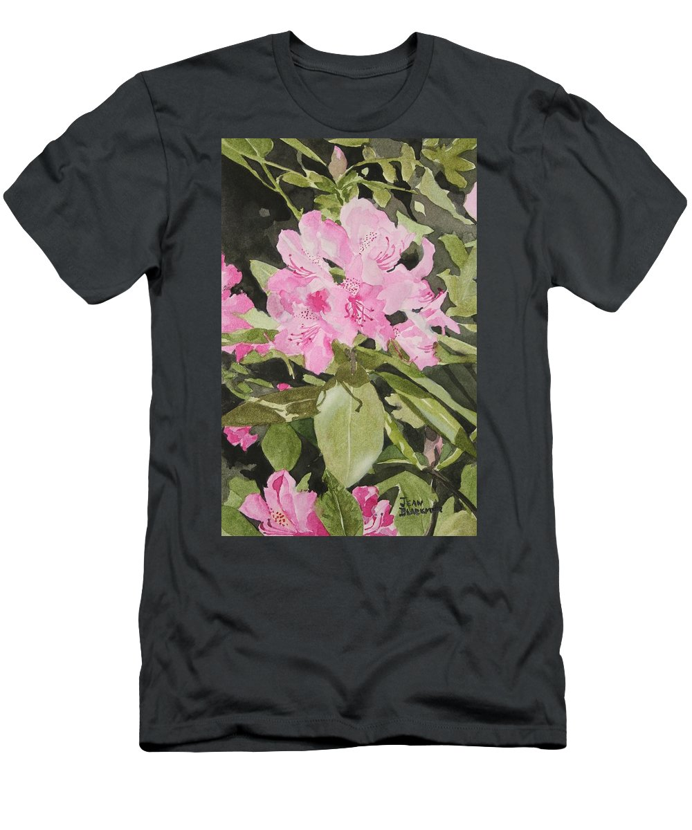 Flowers Men's T-Shirt (Athletic Fit) featuring the painting Spring At The Cabin by Jean Blackmer