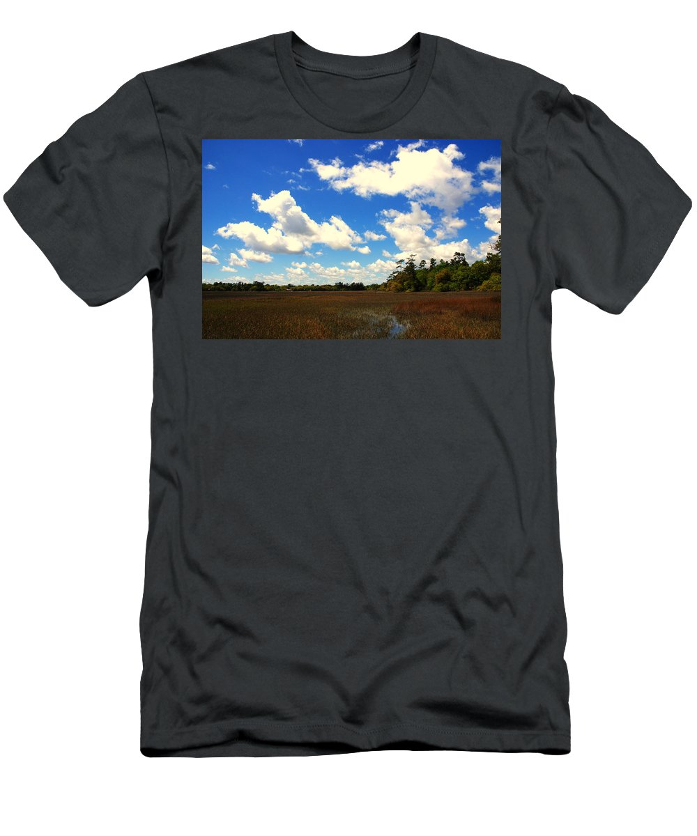 Spring Men's T-Shirt (Athletic Fit) featuring the photograph Spring Clouds Over The Marsh by Susanne Van Hulst