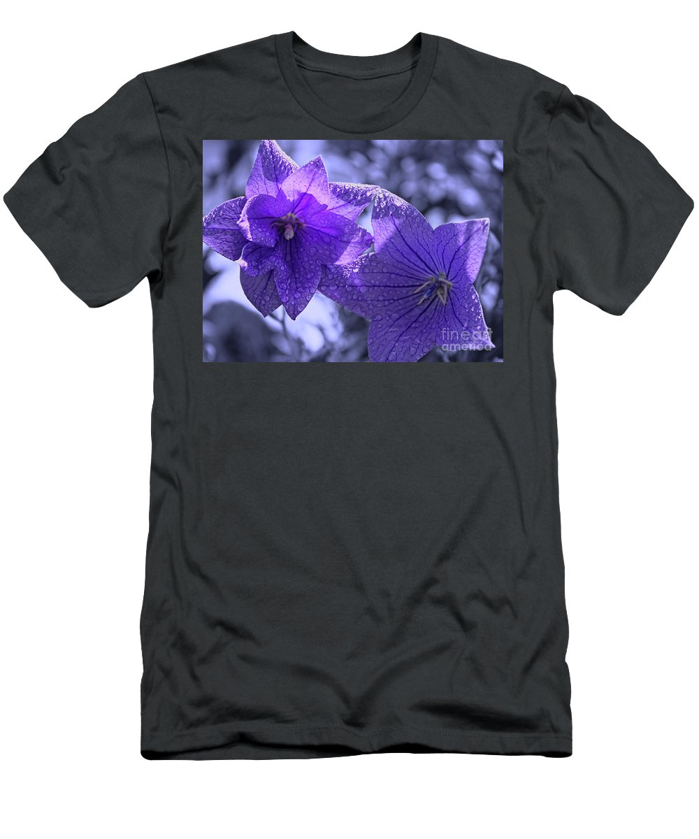 Purple Balloon Flowers Men's T-Shirt (Athletic Fit) featuring the photograph Spring Hope by Cathy Beharriell