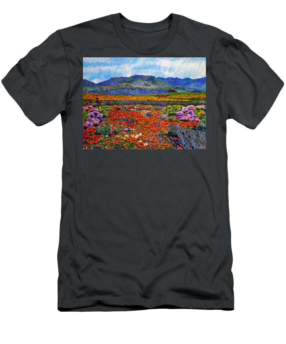 Spring Men's T-Shirt (Athletic Fit) featuring the painting Spring In Namaqualand by Michael Durst