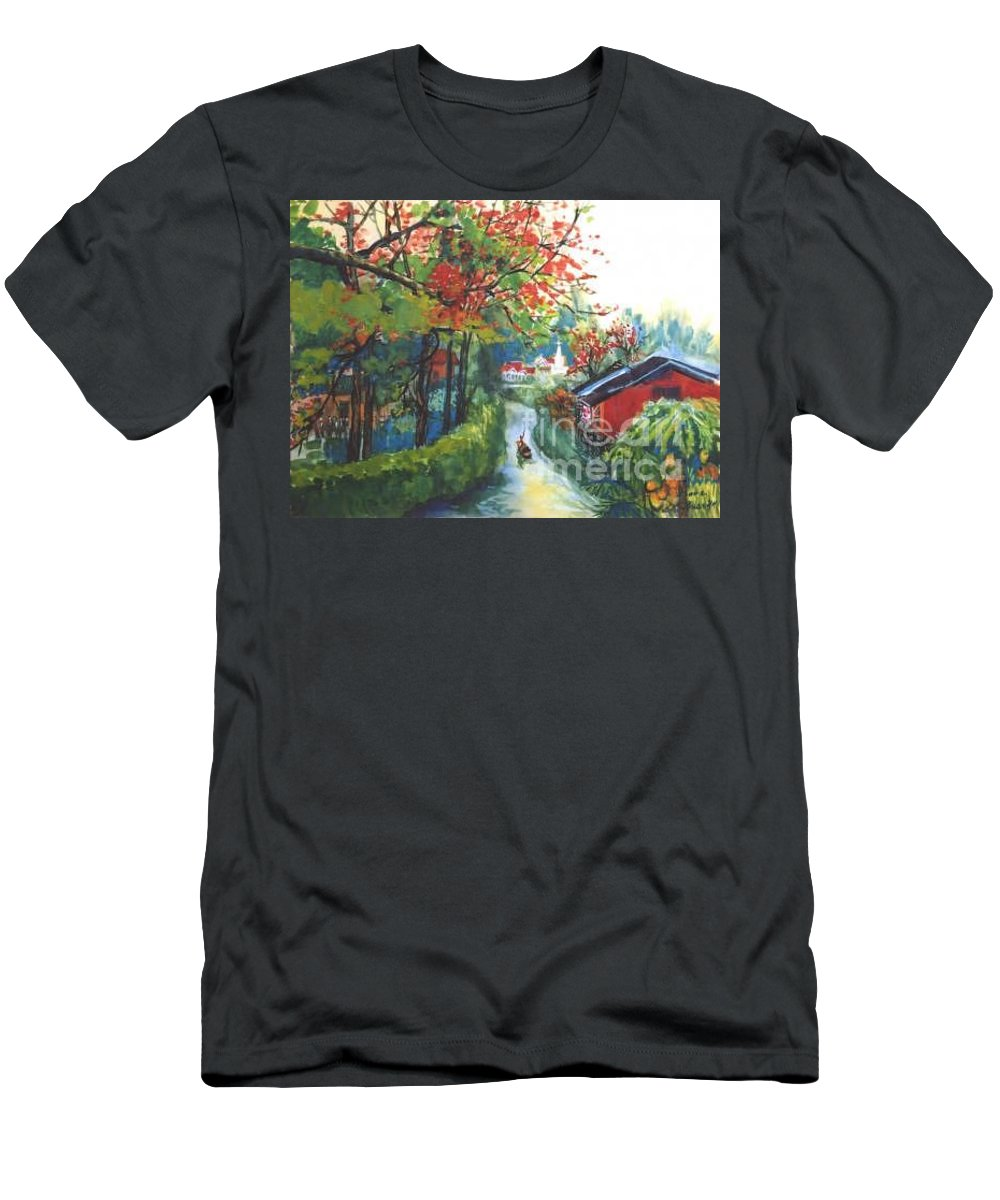 Spring Men's T-Shirt (Athletic Fit) featuring the painting Spring In Southern China by Guanyu Shi