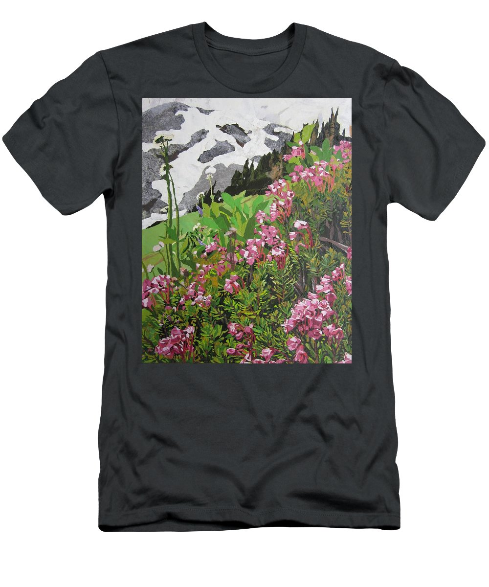 Floral Men's T-Shirt (Athletic Fit) featuring the painting Spring On Mount Rainier by Leah Tomaino