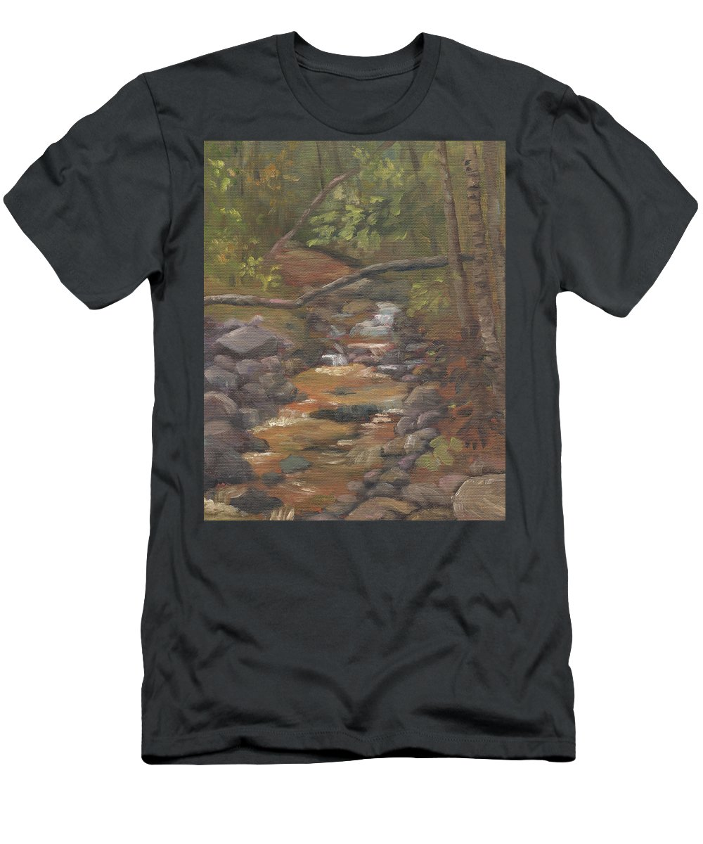 Waterfall T-Shirt featuring the painting Spring on the Gale River by Sharon E Allen
