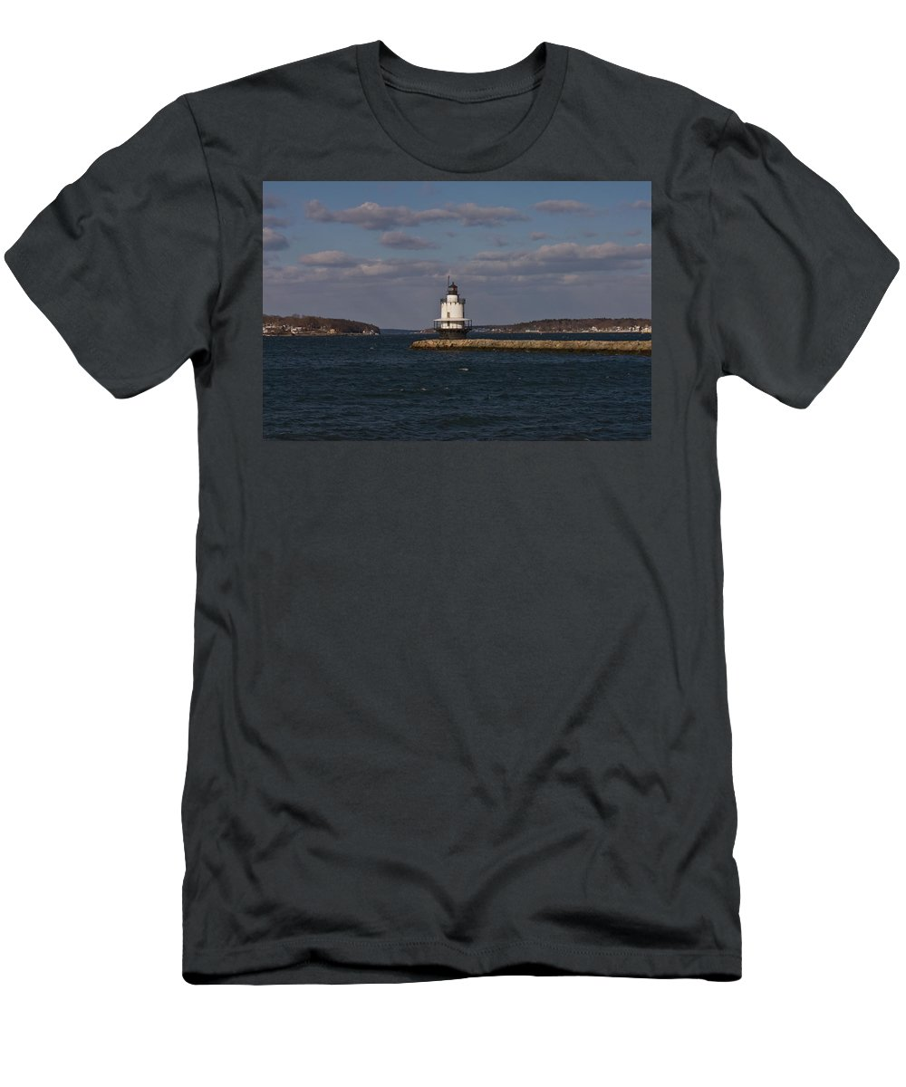 spring Point Ledge Lighthouse Men's T-Shirt (Athletic Fit) featuring the photograph Spring Point Ledge Lighthouse by Paul Mangold