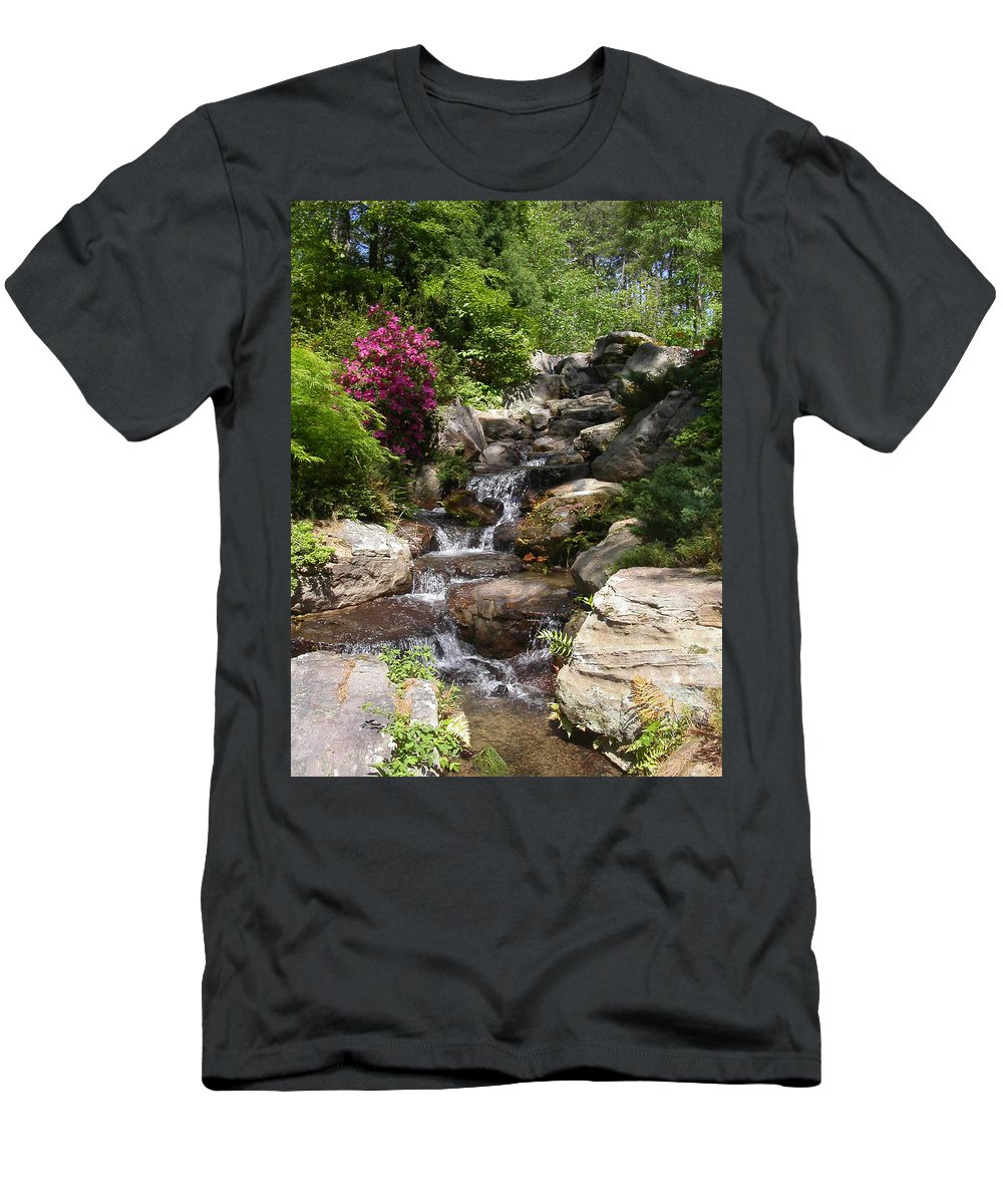 Spring Men's T-Shirt (Athletic Fit) featuring the photograph Spring Waterfall by Anne Cameron Cutri