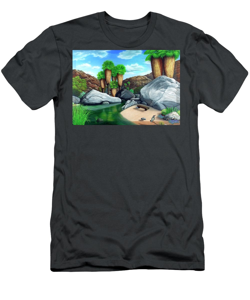 Landscape Men's T-Shirt (Athletic Fit) featuring the painting Springtime In The Canyons by Snake Jagger