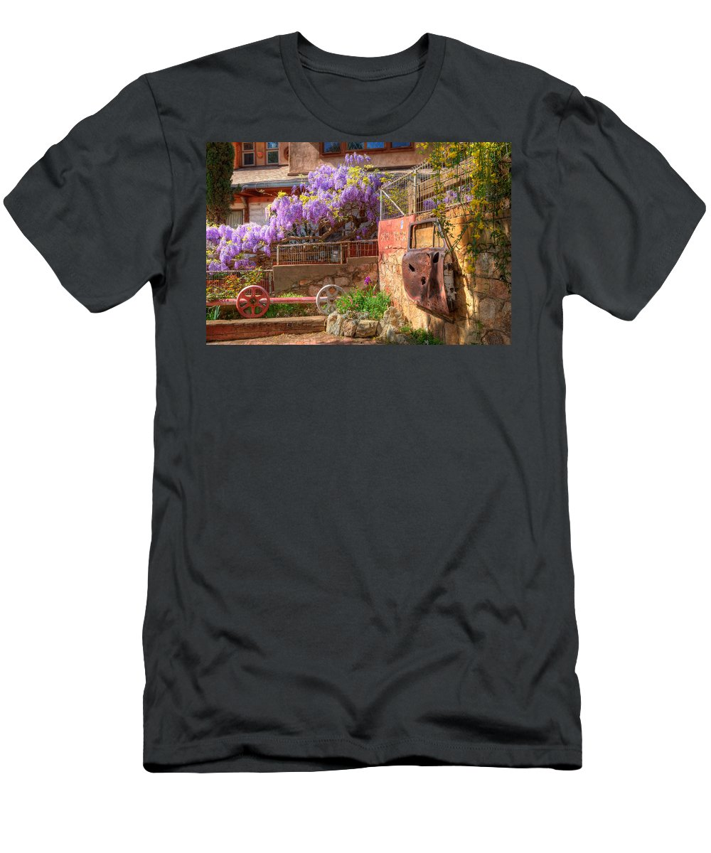 Wisteria Men's T-Shirt (Athletic Fit) featuring the photograph Springtime Wisteria In Old Bisbee by Charlene Mitchell