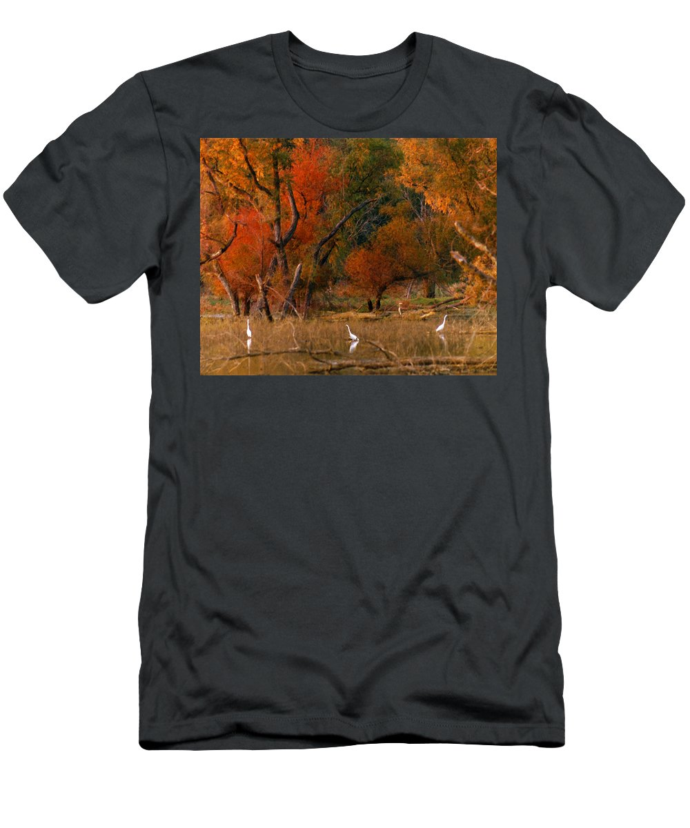 Landscape Men's T-Shirt (Athletic Fit) featuring the photograph Squaw Creek Egrets by Steve Karol