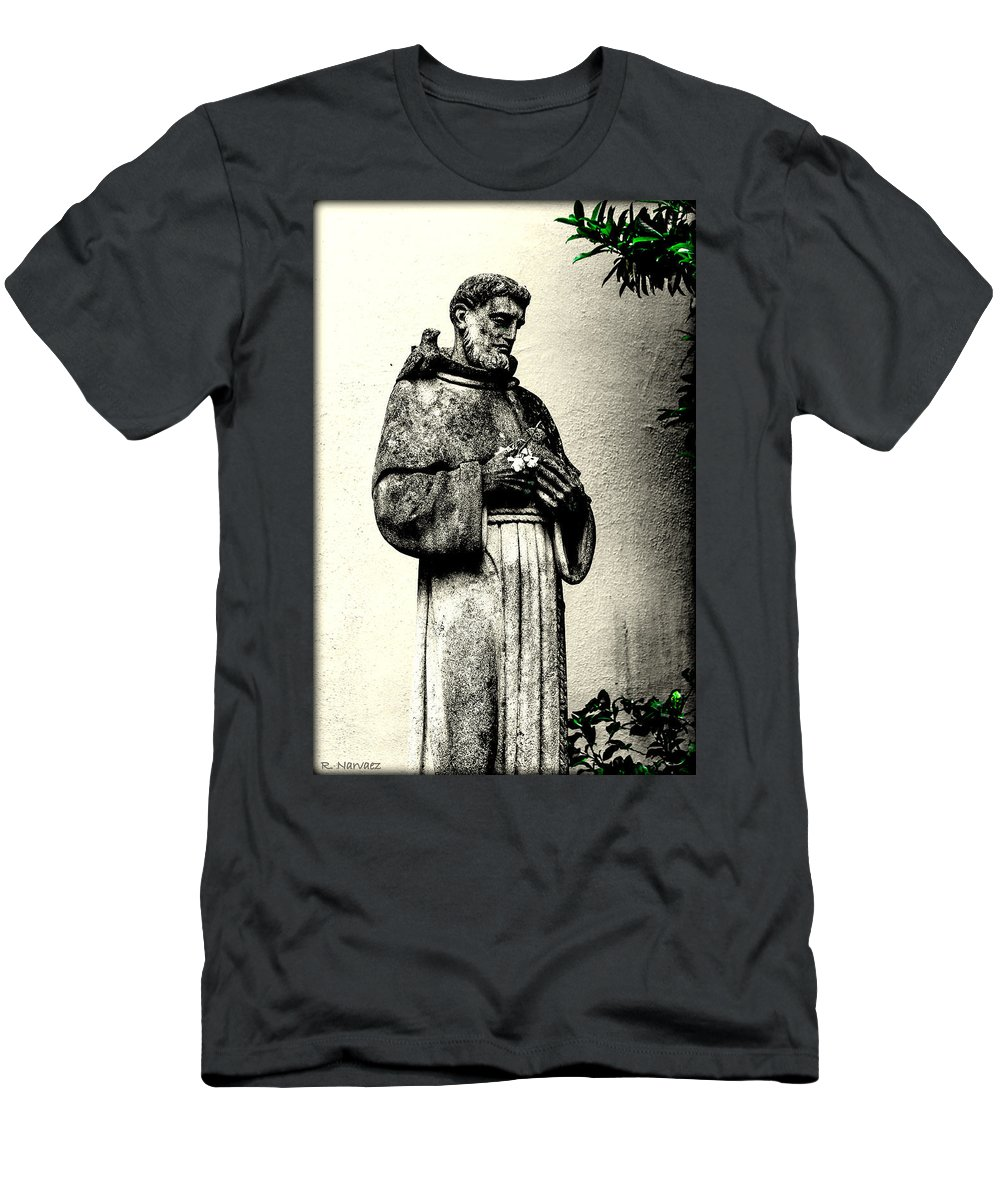 Statue Men's T-Shirt (Athletic Fit) featuring the photograph St. Francis In St. James by Rachel Narvaez