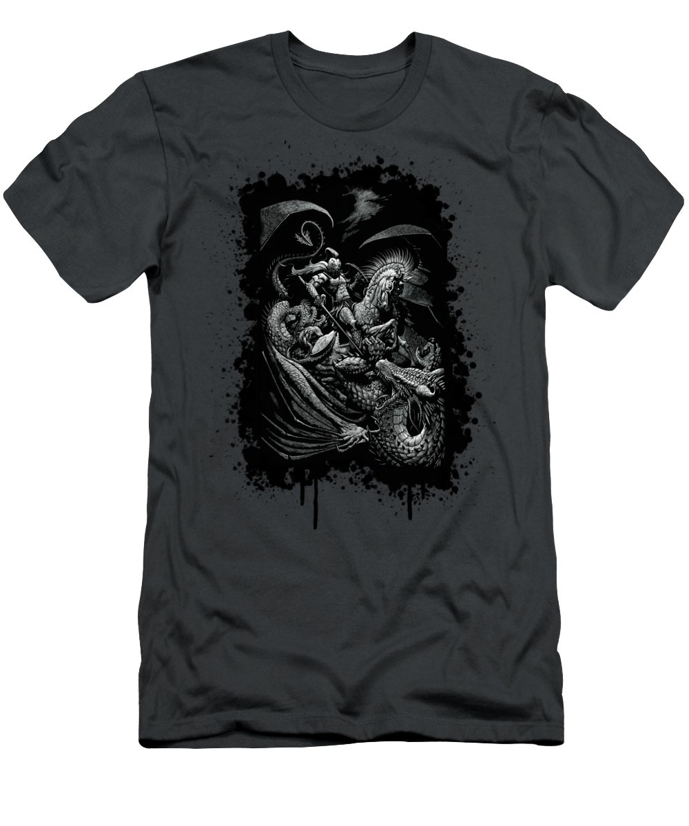 St George Men's T-Shirt (Athletic Fit) featuring the drawing St. George And Dragon T-shirt by Stanley Morrison