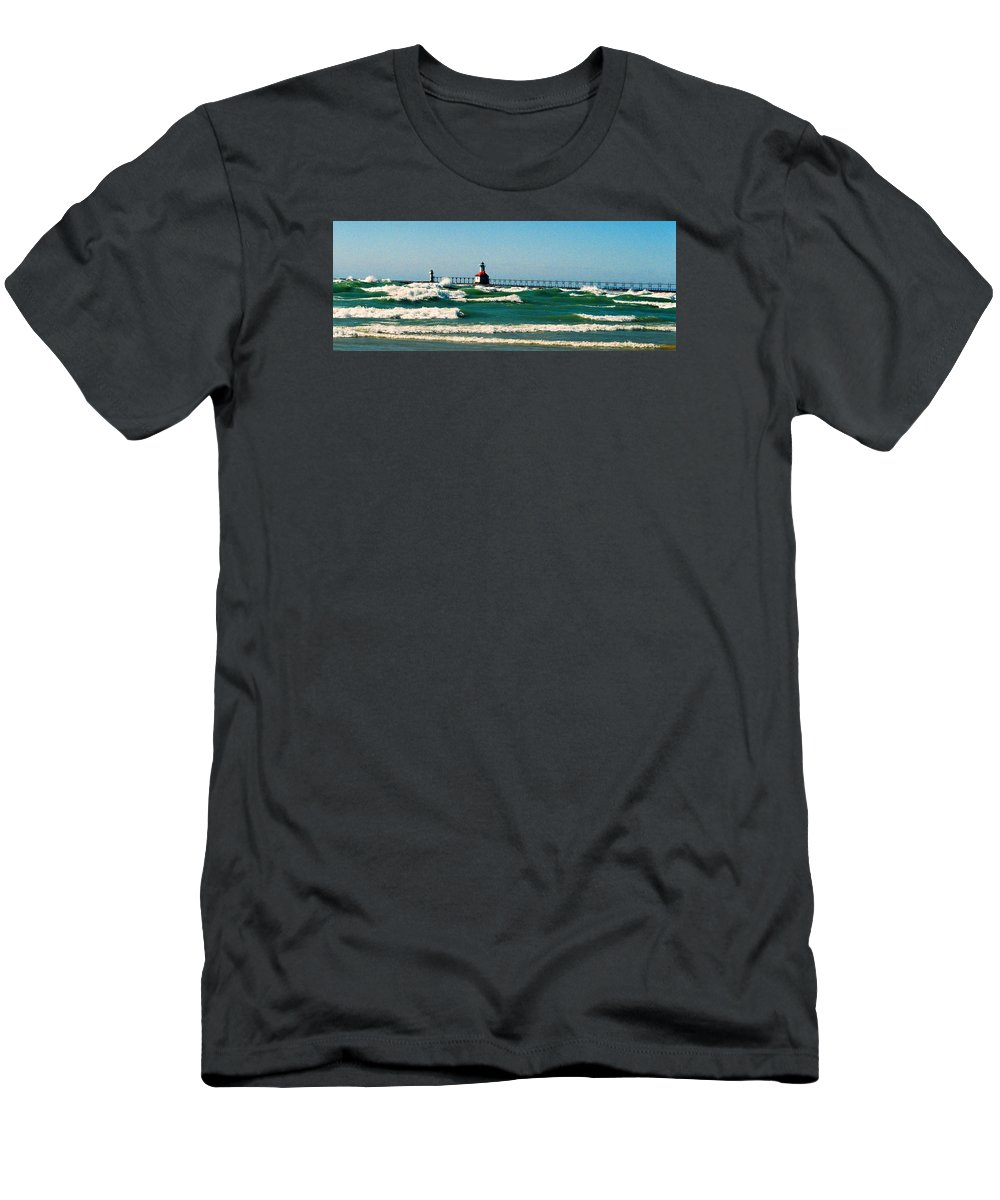 Stevensville Men's T-Shirt (Athletic Fit) featuring the photograph St. Joseph River Lighthouse by Daniel Thompson