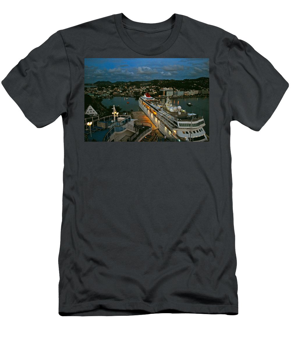 St.lucia Men's T-Shirt (Athletic Fit) featuring the photograph St. Lucia In The Evening by Gary Wonning